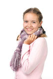 Beautiful girl with scarf. Cheerful girl in a pink blouse with a scarf Royalty Free Stock Photos