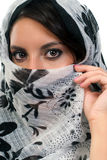 Beautiful girl with scarf. Amazing young woman with black and white scarf Stock Image
