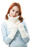 Beautiful girl in a scarf and mittens Stock Images