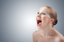 Beautiful girl screaming angry aggressive. Royalty Free Stock Images