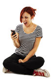 Beautiful girl screaming in the phone Royalty Free Stock Image