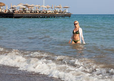 Beautiful girl in the Sea. Stock Photo