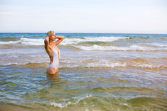 Beautiful girl and sea Stock Photos
