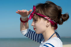The beautiful girl at the sea Stock Photo