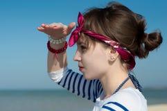 The beautiful girl at the sea Stock Photo