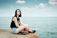 Beautiful girl and sea Stock Images