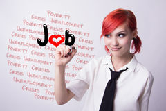 Beautiful girl in search of work Stock Images