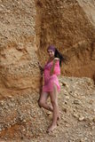 Beautiful Girl At The Seaside Near Rock Stock Photography