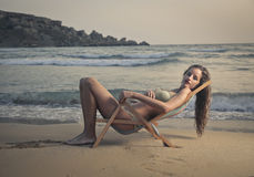 A beautiful girl at the seaside Royalty Free Stock Photo
