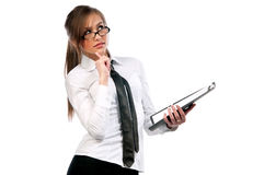 Beautiful girl secretary with glasses Royalty Free Stock Photography