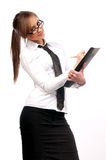 Beautiful girl secretary with glasses Stock Photography