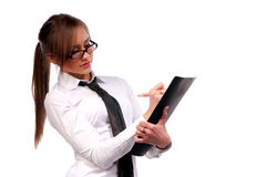 Beautiful girl secretary with glasses Stock Image