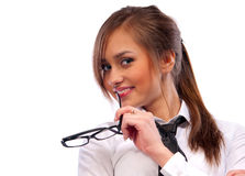 Beautiful girl secretary with glasses Royalty Free Stock Photos