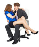 Beautiful girl - secretary in a lap at head Stock Photos
