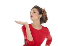 Beautiful girl sends an air kiss Stock Photography