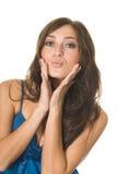 Beautiful girl sends kiss Stock Photos
