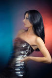 Beautiful girl in a sequin dress Royalty Free Stock Photos