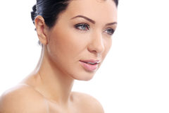 Beautiful girl with serious look and perfect skin royalty free stock image