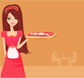 beautiful girl serving pizza Stock Images