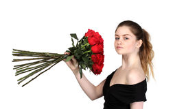 Beautiful girl with set of roses Royalty Free Stock Photography