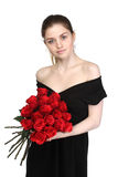 Beautiful girl with set of roses Stock Images