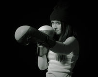 Beautiful girl. Sexy girl in boxing gloves Stock Images