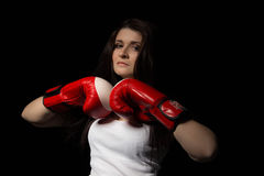 Beautiful girl. Girl in boxing gloves Stock Photos