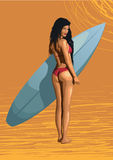 Beautiful girl sexy hot woman surfer, surfing, with surfboard, s Royalty Free Stock Photos