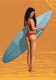 Beautiful girl sexy hot woman surfer surfing with surfboard, sex Royalty Free Stock Photos