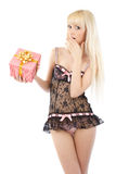 Beautiful girl in sexy lingerie with gift box Stock Photo