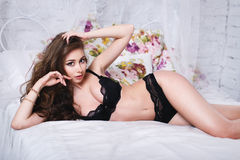 Beautiful girl in a sexy lingerie Royalty Free Stock Photos