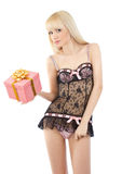 Beautiful girl in sexy pink lingerie with gift box Stock Photo