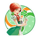 Beautiful girl with shamrock for saint Patricks day Stock Photos