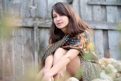 Beautiful girl with shawl Stock Images