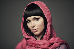 Beautiful girl with shawl portrait Royalty Free Stock Photography