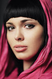 Beautiful girl with shawl portrait Stock Photography