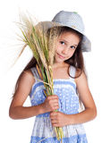 Beautiful girl with sheaf of wheat. Isolated on white Stock Photography