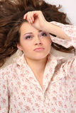 Beautiful girl in the shirt after sleep Royalty Free Stock Photography