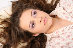 Beautiful girl in the shirt after sleep Royalty Free Stock Photo