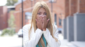 Beautiful Girl in Shock, Reaction of Tragedy and Loss Royalty Free Stock Image