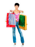 Beautiful girl with shoping bsgs Stock Image