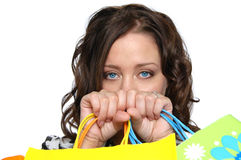 Beautiful girl with shopping bags Stock Photos