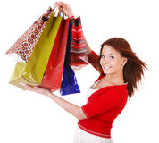 Beautiful girl with shopping bag. Beautiful happy girl with shopping bag. Isolated Stock Images