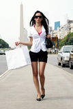 The beautiful girl with a shopping Bag Royalty Free Stock Photography