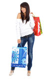 Beautiful girl with shopping bag. Studio isolated shoot Stock Photo