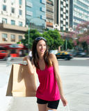 Beautiful girl with a shopping Bag Stock Images