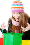 Beautiful girl with shopping bags Royalty Free Stock Photo