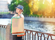 Beautiful girl with shopping bags Stock Photos