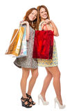 Beautiful girl with shopping bags smiling Stock Photos
