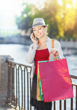 Beautiful girl with shopping bags talking on the mobile phone Stock Photography
